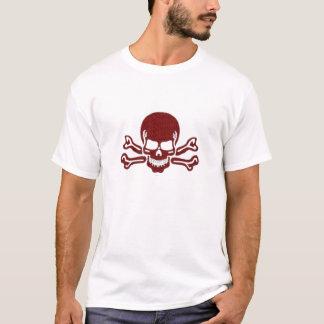 roter strukturierter Totenkopf mit gekreuzter T-Shirt