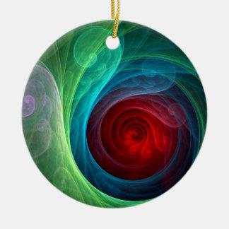 Roter Sturm-abstrakte Kunst-Kreis-Verzierung Rundes Keramik Ornament