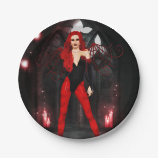 Roter Succubus Pappteller