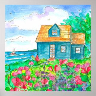 Roter süße Erbsen-Küste-HütteWatercolor Poster