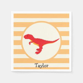 Roter T-Rex Dinosaurier; Orange Streifen Papierserviette