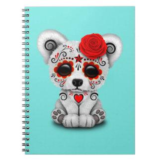Roter Tag des toten Baby-Eisbären Notizblock