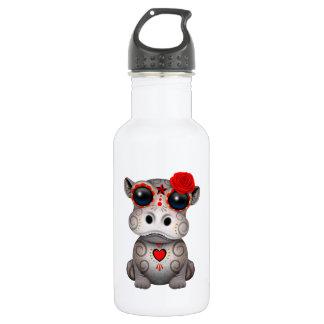 Roter Tag des toten Baby-Flusspferds Edelstahlflasche