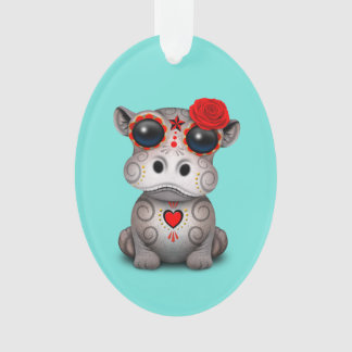 Roter Tag des toten Baby-Flusspferds Ornament