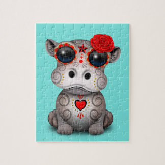 Roter Tag des toten Baby-Flusspferds Puzzle