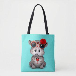 Roter Tag des toten Baby-Flusspferds Tasche