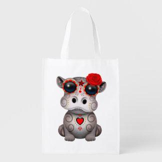 Roter Tag des toten Baby-Flusspferds Wiederverwendbare Einkaufstasche