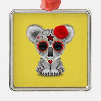 Roter Tag des toten Baby-Koala Quadratisches Silberfarbenes Ornament