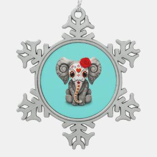 Roter Tag des toten Elefanten Schneeflocken Zinn-Ornament
