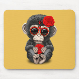 Roter Tag des toten Zuckerschädel-Baby-Schimpansen Mousepads