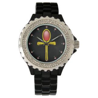 ROTER TALISMAN, karminrote Edelsteine, schwarz Uhr