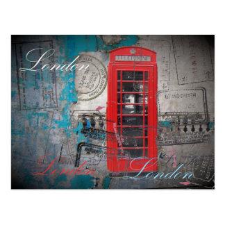 roter Telefon-Stand Pass-Briefmarken Londons Postkarte
