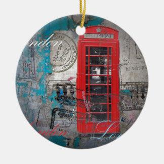roter Telefon-Stand Pass-Briefmarken Londons Rundes Keramik Ornament