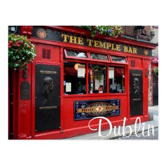 Roter Tempel-Bar Pub in der Dublin-Textpostkarte Postkarten