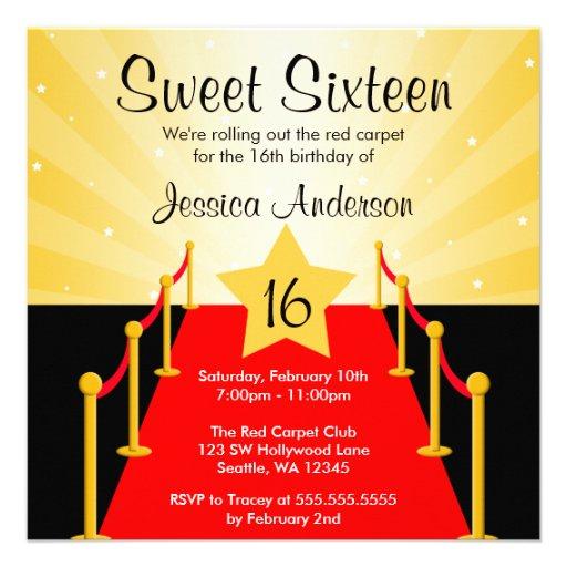 Roter Teppichhollywood-Bonbon 16 Geburtstags-Party Individuelle Einladungskarte