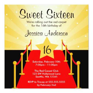Roter Teppichhollywood-Bonbon 16 Geburtstags-Party Quadratische 13,3 Cm Einladungskarte