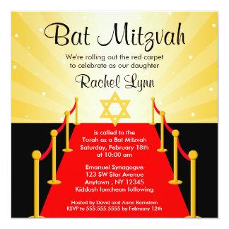 Roter Teppichhollywood-Schläger Mitzvah Quadratische 13,3 Cm Einladungskarte
