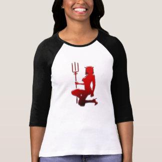 Roter Teufel-Mädchen glückliches Halloween T-Shirt