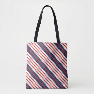 Roter tiefer blauer Streifen Tasche