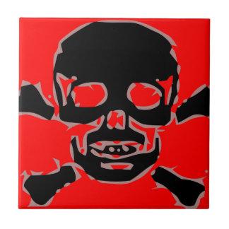 Roter Totenkopf Keramikfliese