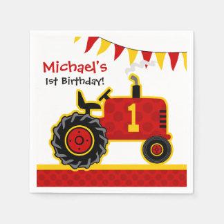 Roter Traktor-1. Geburtstag Papierserviette