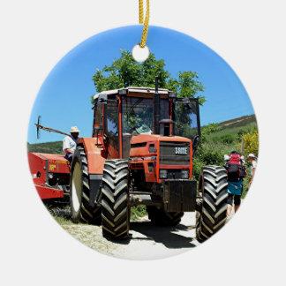 Roter Traktor auf EL Camino, Spanien Keramik Ornament