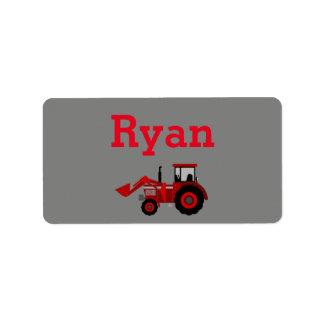 Roter Traktor-Aufkleber Adressaufkleber