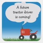 Roter Traktor-Aufkleber: Umschlag Aufkleber für Ba