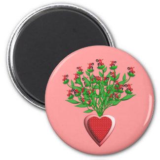 Roter Traktor-Blumenstrauß-Magnet Magnete