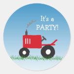 Roter Traktor-Einladungs-Umschlag Aufkleber