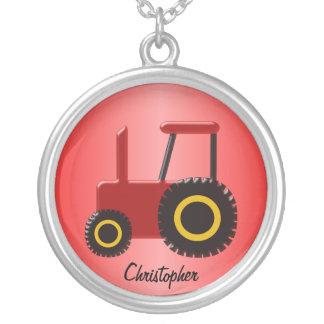 Roter Traktor Halskette Mit Rundem Anhänger