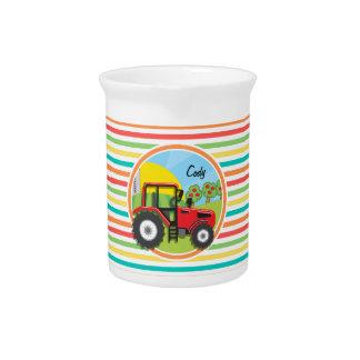 Roter Traktor; Helle Regenbogen-Streifen Getränke Pitcher