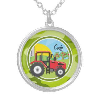 Roter Traktor; hellgrüne Camouflage, Tarnung Halskette Mit Rundem Anhänger