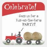 Roter Traktor-Party-Umschlag Aufkleber