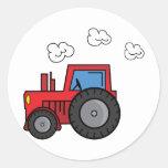 Roter Traktor Runder Sticker