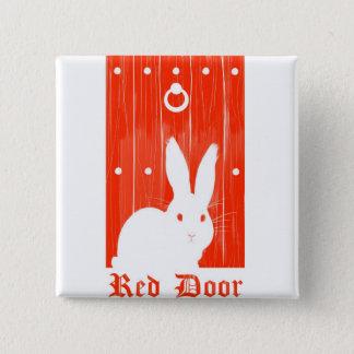 Roter Tür-Häschen-Knopf Quadratischer Button 5,1 Cm