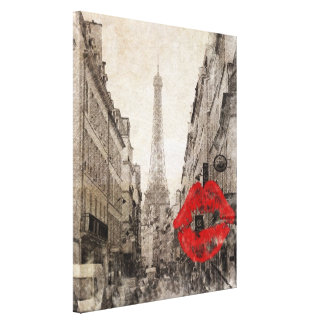 Roter Turm Lippenkuss-Shabby Chicparis Eiffel Galerie Falt Leinwand