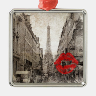Roter Turm Lippenkuss-Shabby Chicparis Eiffel Quadratisches Silberfarbenes Ornament