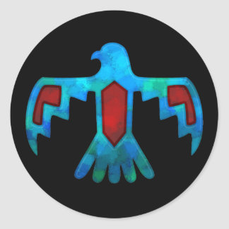 Roter u. blauer Thunderbird-Aufkleber Runder Aufkleber