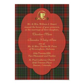 Roter u. grüner Stuarttartan-karierte 12,7 X 17,8 Cm Einladungskarte