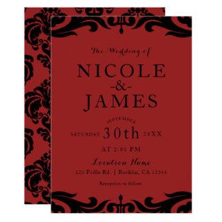 Roter u. schwarzer Damast-schicke elegante Karte
