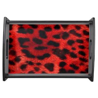 Roter u. schwarzer Tierdruck Tablett