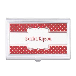 Roter u. weißer Tupfen-Visitenkarte-Halter Visitenkarten Etui