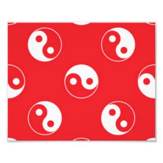 Roter u. weißer Yin Yang Muster-Entwurf Fotodruck
