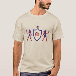 Roter und blauer heraldischer Rosen-T - Shirt