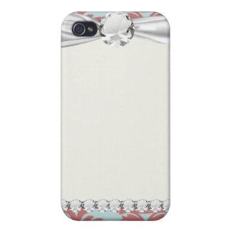 roter und gedämpfter Aquadamast der Primel iPhone 4 Cover