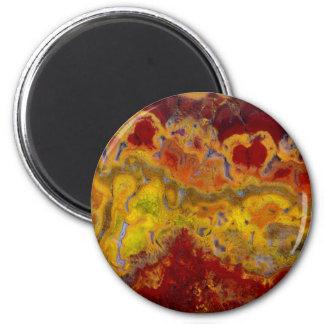 Roter und gelber Crayloa Jaspis Runder Magnet 5,1 Cm