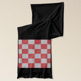 Roter und grauer karierter Schal