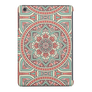 Roter und grüner BlumenMandala-Entwurf iPad Mini Cover