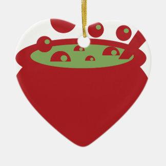 Roter und grüner kochender Topf Keramik Herz-Ornament